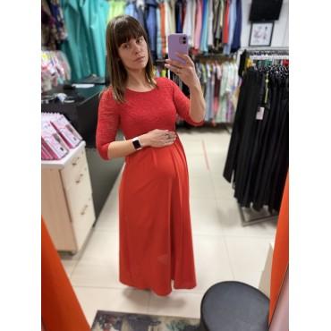 """Платье для беременных длинное трикотаж-гипюр """"Марина"""" красное"""