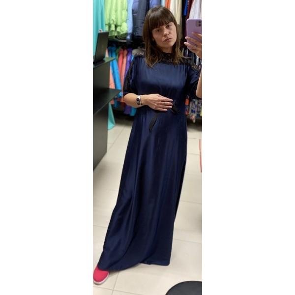 """Платье для беременных длинное трикотаж-гипюр """"Марина"""" синее"""