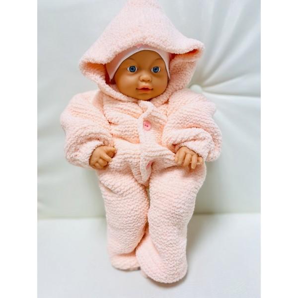 Комбинезон для новрожденных из плюша для девочки