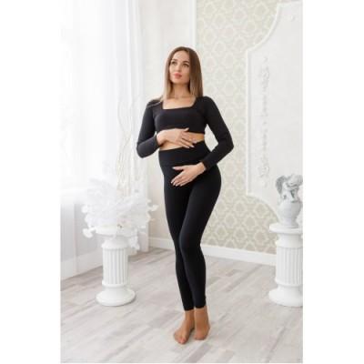 """Утепленные лосины для беременных """"Л010"""" на меху черные"""