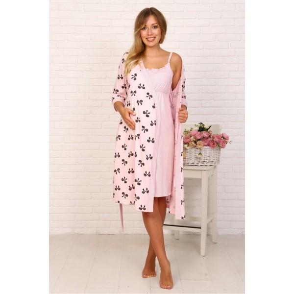 Комплект Халат и сорочка в роддом для беременных и кормящих розовый/бантики
