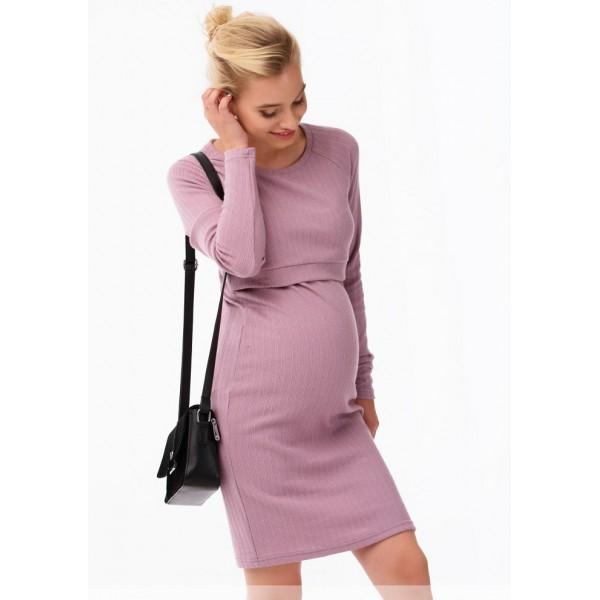 Теплое платье для беременных и кормящих мам розовое