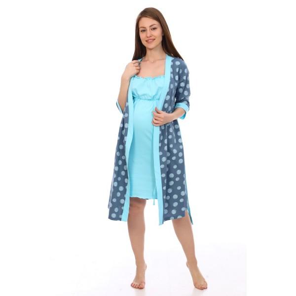Комплект халат и сорочка для беременных и кормящих деним в горох