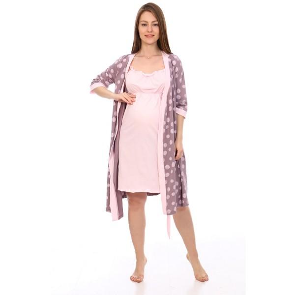 Комплект халат и сорочка для беременных и кормящих коричневый в горох