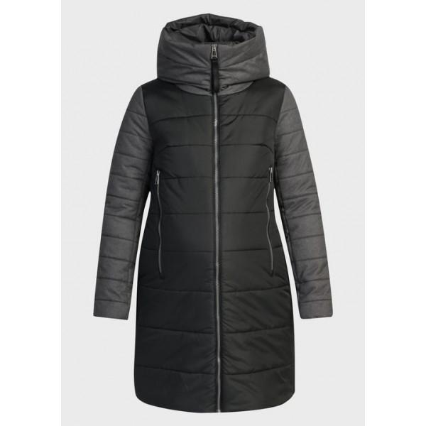 Куртка для беременных зимняя Черно-серая +слингоношение