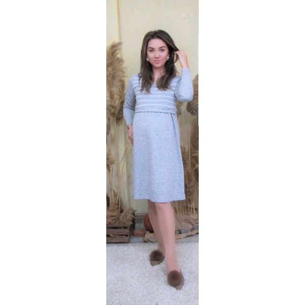 Платье для беременных и кормления трикотаж серая полоска