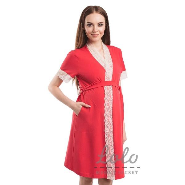 Комплект Халат и сорочка в роддом для беременных и кормящих Розовый/гипюр