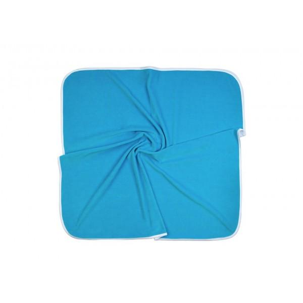 Плед велюр на хлопковом подкладе бирюзовый 90*90 см