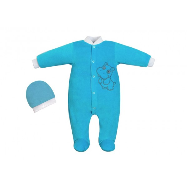 Комбинезон для новорожденного и шапочка бирюза