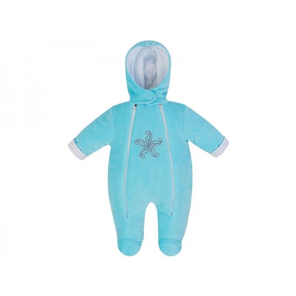 Комбинезон для новорожденных утепленный бирюза
