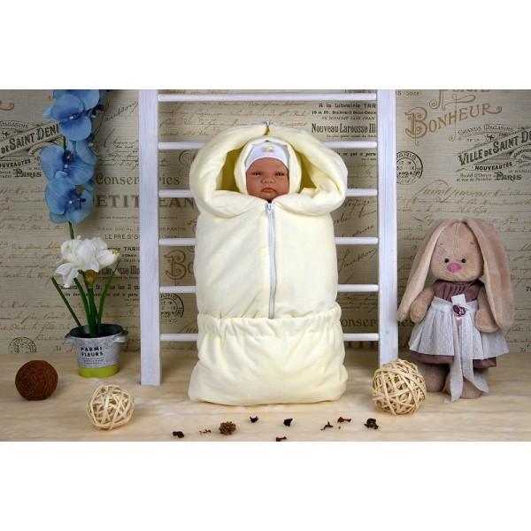 Весенний комплект для новорожденного на выписку Велюр Молочный