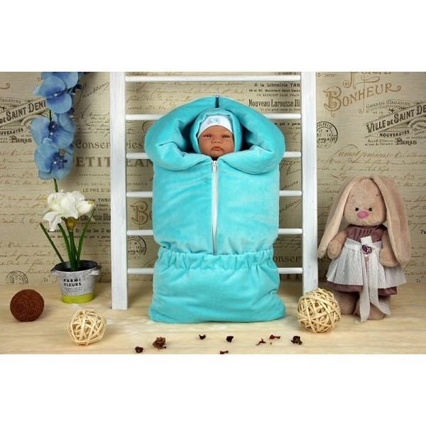 Весенний комплект для новорожденного на выписку Велюр бирюза