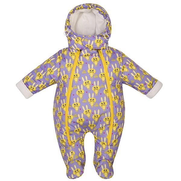 Комбинезон для новорожденных утепленный Сирень/зайки