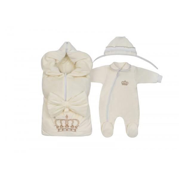 Весенний комплект для новорожденного на выписку Велюр молочный Принц