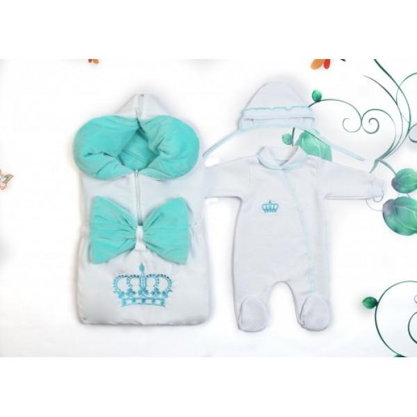 Весенний комплект для новорожденного на выписку Велюр бирюза Принц