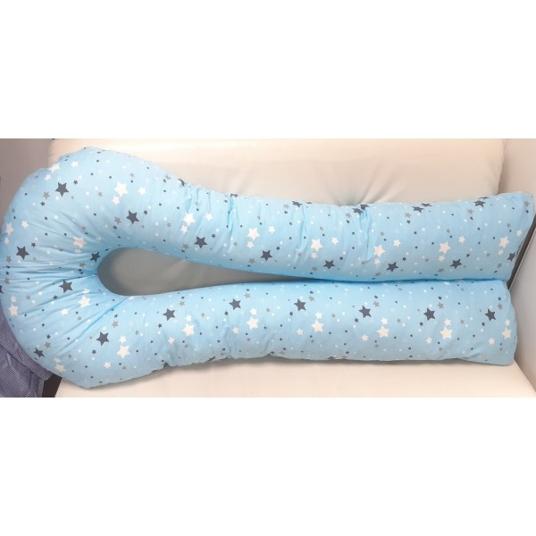 Большая подушка для беременных голубая/звездочки