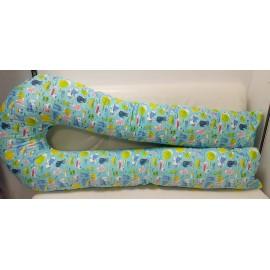 Большая подушка для беременных мятная/котики