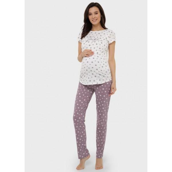 Пижама для беременных и кормящих кофе звезды