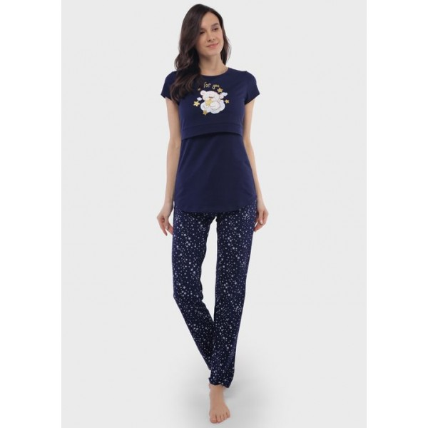 Пижама для беременных и кормящих синие звезды