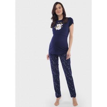 Комплект халат и сорочка для беременных и кормящих голубой