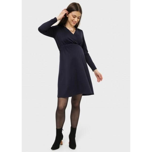 Летнее платье для беременных синий с секретом для кормления грудью