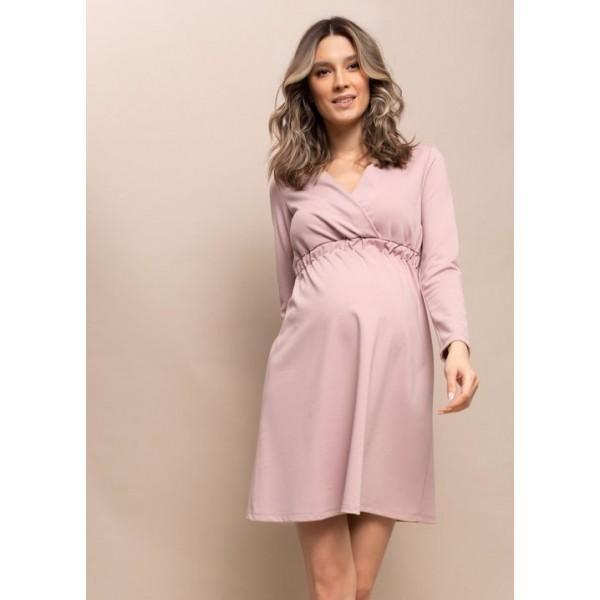 Летнее платье для беременных пудровое с секретом для кормления грудью