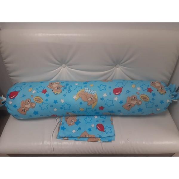 Подушка для беременных прямой валик голубая