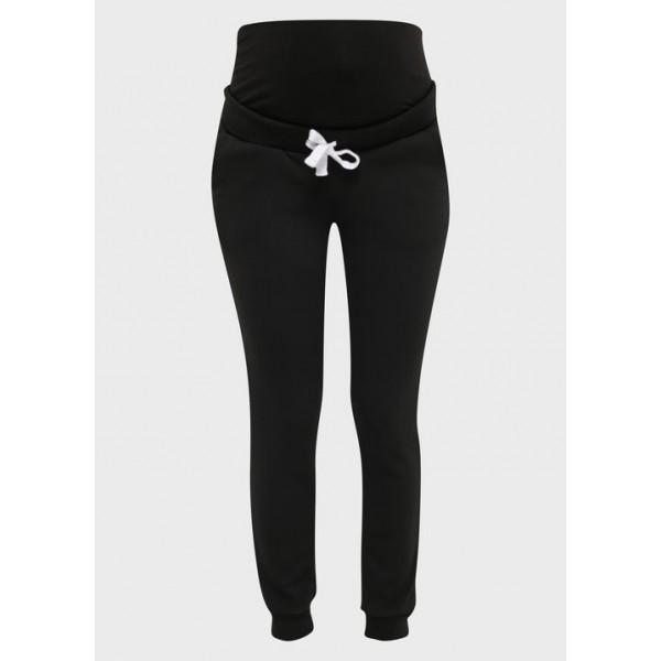 Зимние спортивные брюки на меху для беременных, черные