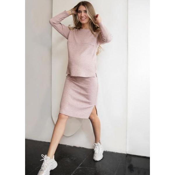 Костюм для беременных и кормящих юбка и блуза цвет пудра