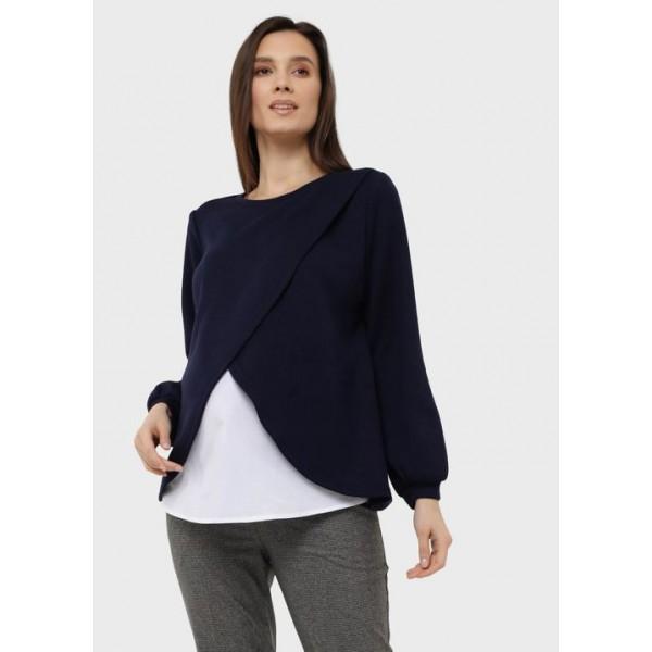 Джемпер для беременных и кормящих цвет синий