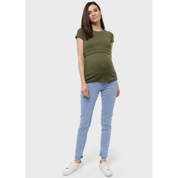 Джинсы зауженные для беременных светлый деним