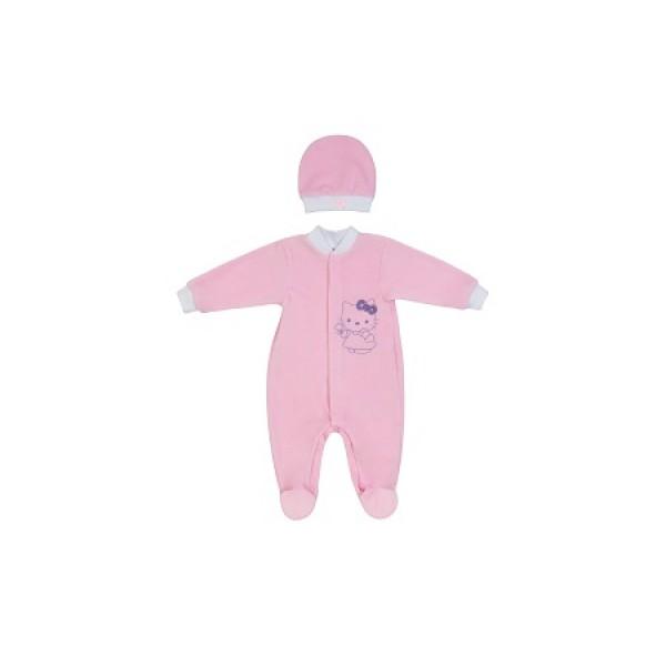 Комбинезон для новорожденного и шапочка нежно-розовый