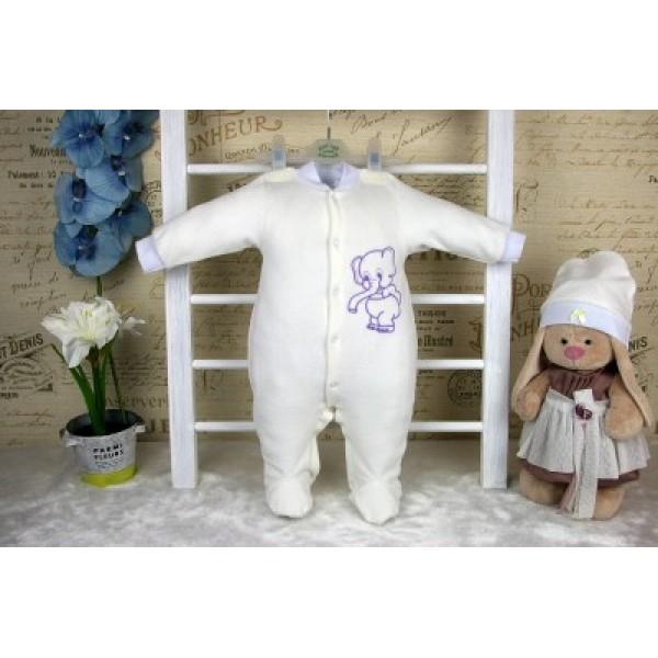 Комбинезон для новорожденного и шапочка молочный