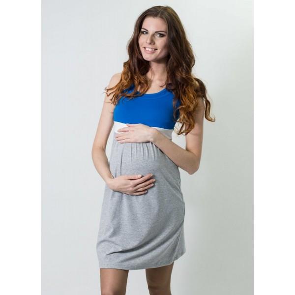 """Платье """"Мм379"""" синий/меланж  для берем/кормл."""