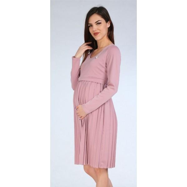Платье для беременных и кормления трикотаж пудра