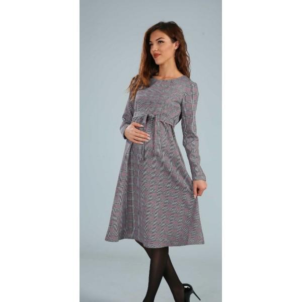 Платье для беременных и кормления в клетку