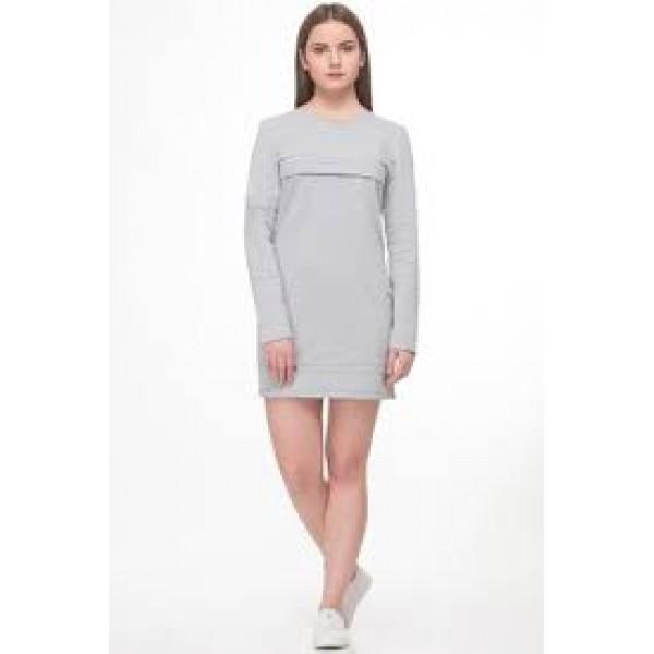 Платье  Серое для беременных и кормящих