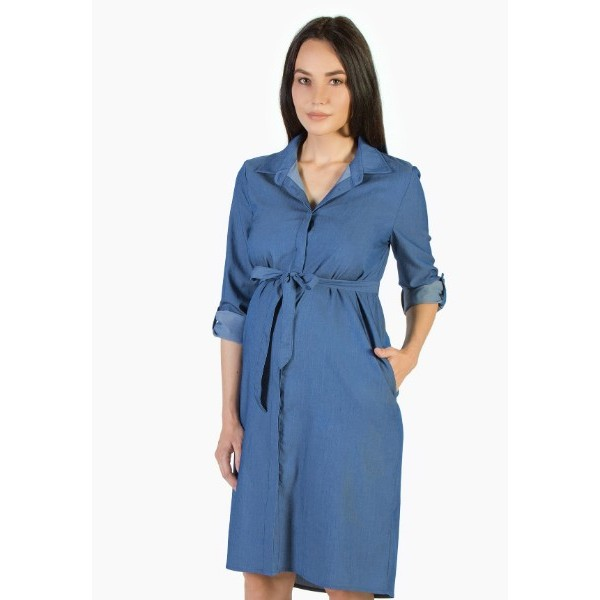 Летнее платье-рубашка для беременных из тенсела