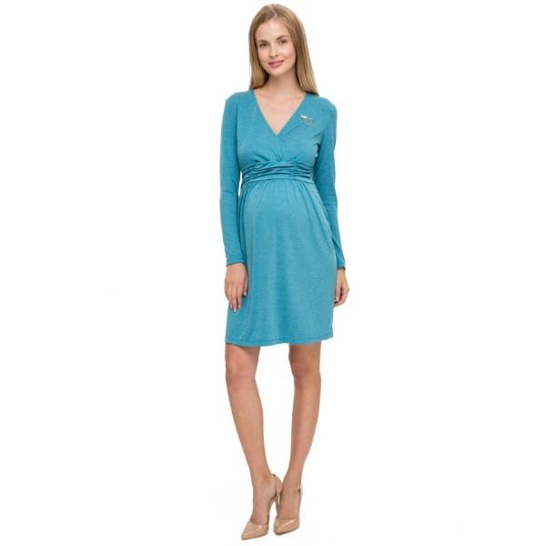 """Платье """"Жаннет"""" бирюзовый меланж для беременных и кормящих"""