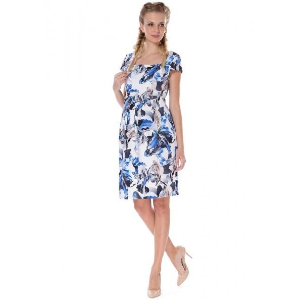 """Платье """"Психея"""" белое с голлубыми цветами для беременных и кормящих"""