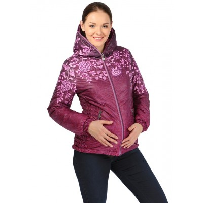 """Куртка двусторонняя """"Лили"""" Цветы на бордо демисезонная  для беременных 2в1"""