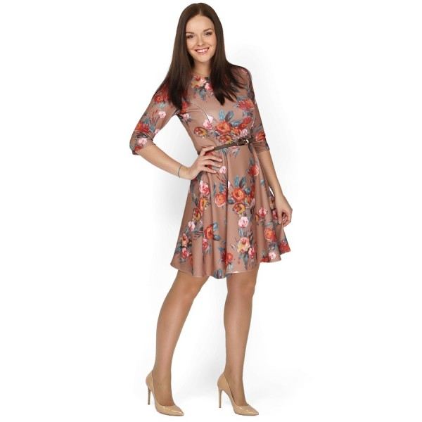 """Платье """"Ванесса"""" бежевое с цветами для кормящих"""