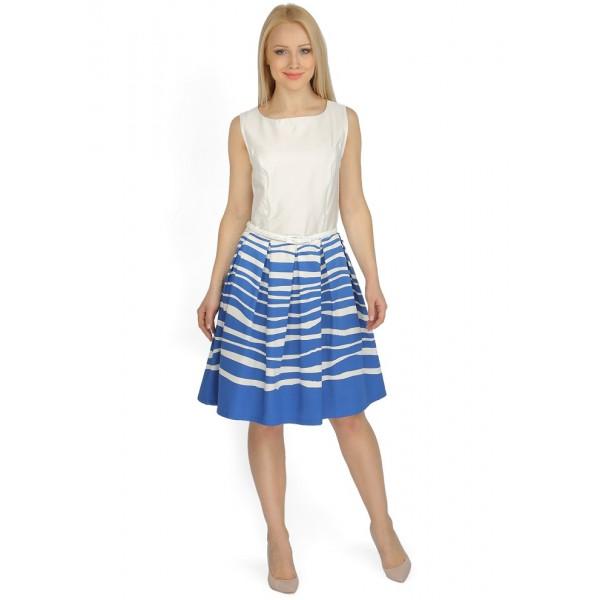 """Платье """"Муза"""" белое с синей полоской для кормящих"""