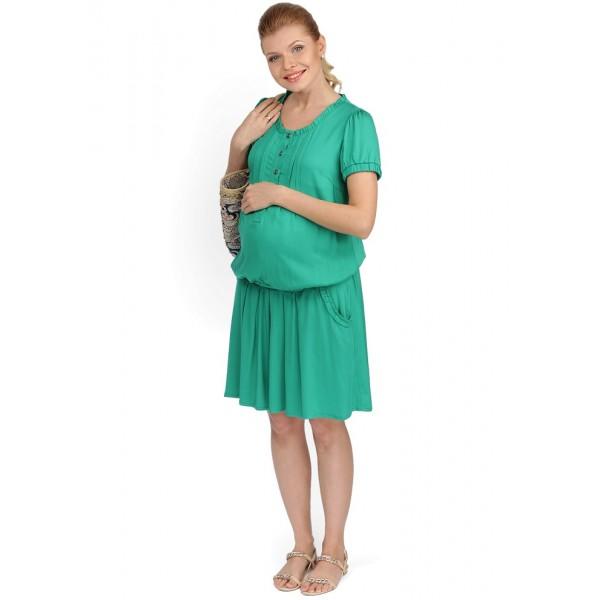 """Платье-туника """"Алексия"""" зеленое для беременных и кормящих мам"""