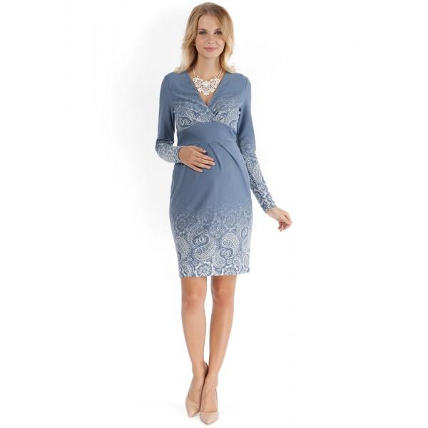"""Платье """"Жозефина"""" голубое с пейсли для беременных и кормящих"""