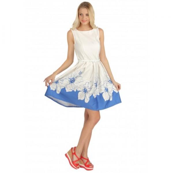 """Платье """"Муза"""" васильковое с цветами  для кормящих"""