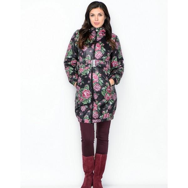 """Куртка для беременных 3в1 """"Вуаля"""" Черная с розами"""