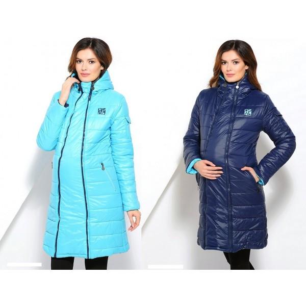 Куртка для беременных межсезонная Сине-голубая двусторонняя