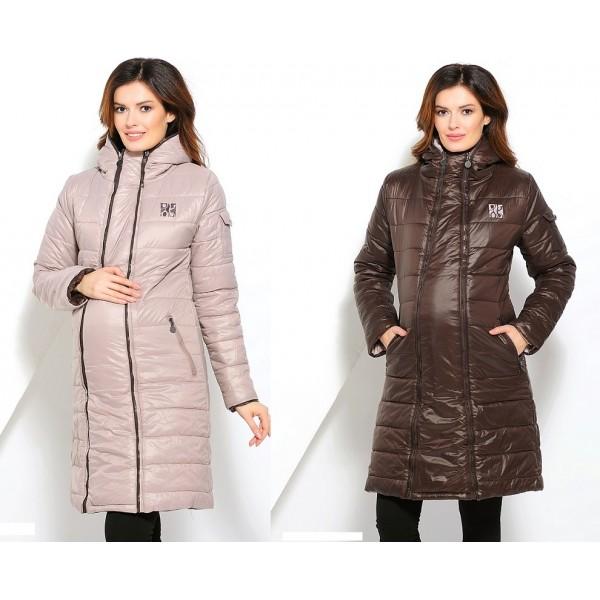 Куртка для беременных межсезонная Бежево-коричневая двусторонняя