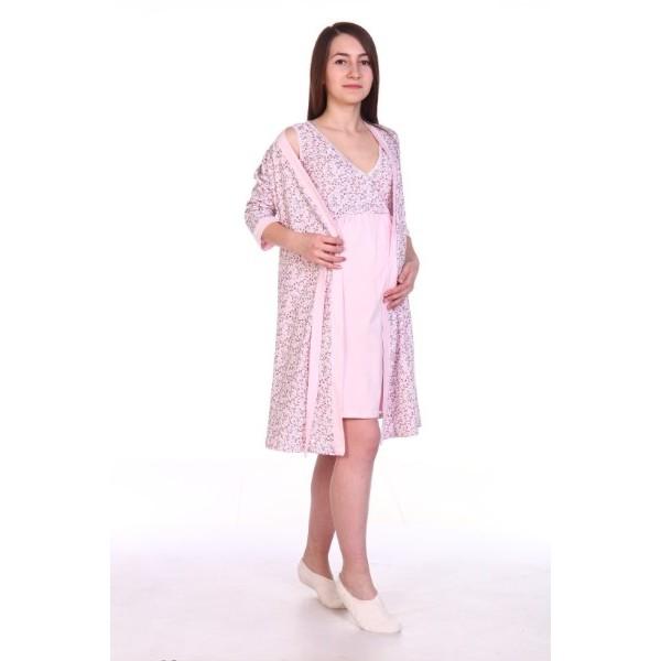 Комплект халат и сорочка для беременных и кормящих розовй/цветочки